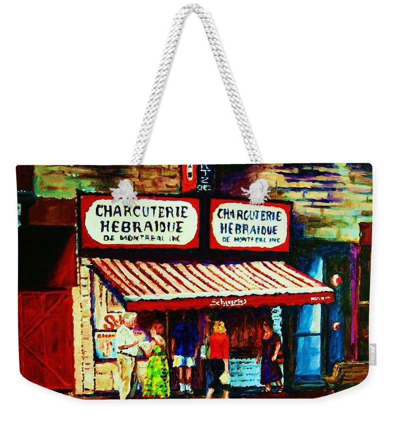 Schwartz Deli Weekender Tote Bag featuring the painting Schwartzs Famous Smoked Meat by Carole Spandau