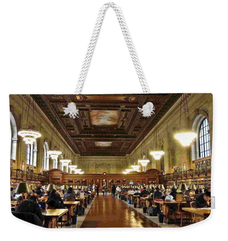 New York Public Library Weekender Tote Bag featuring the photograph Schwarzman Building by Blizelle T