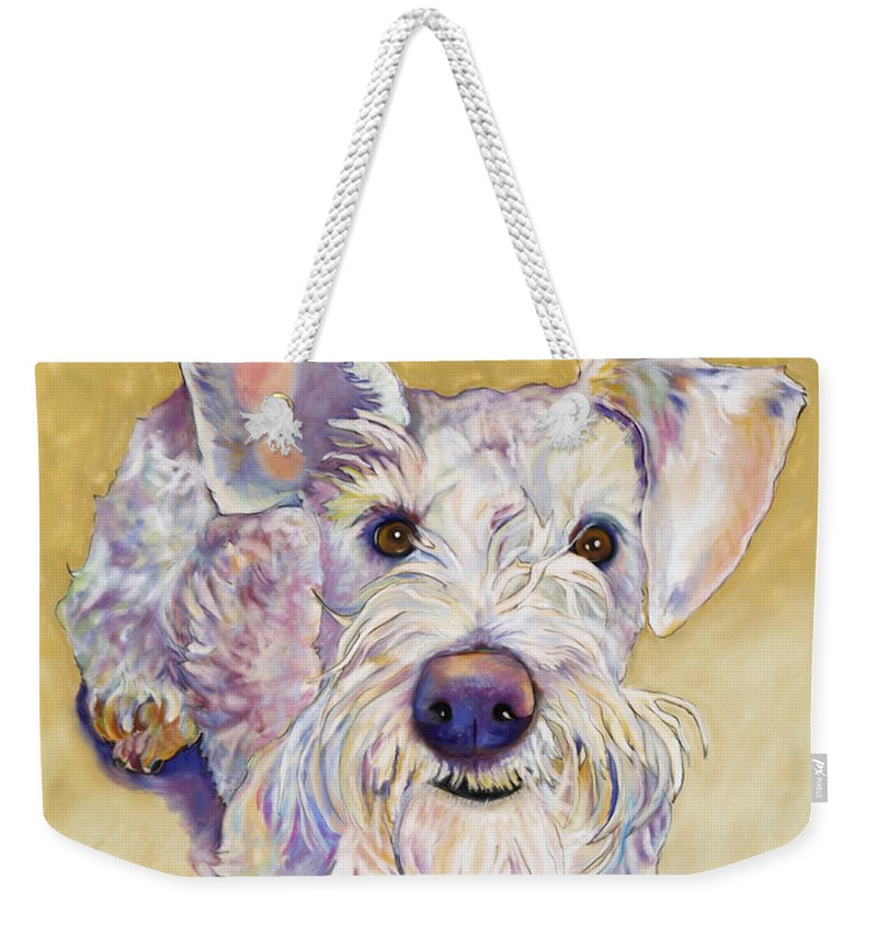 Schnauzer Weekender Tote Bag featuring the pastel Scooter by Pat Saunders-White