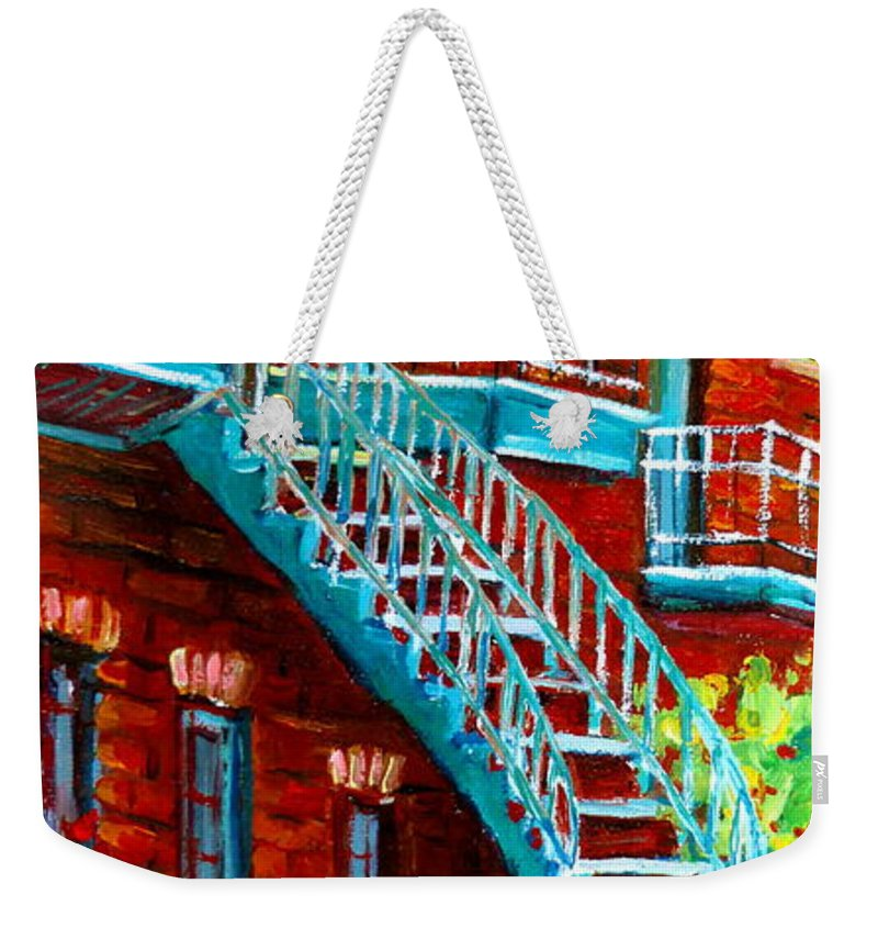 Debullion Street Weekender Tote Bag featuring the painting Scooter Ride Along Coloniale Street by Carole Spandau