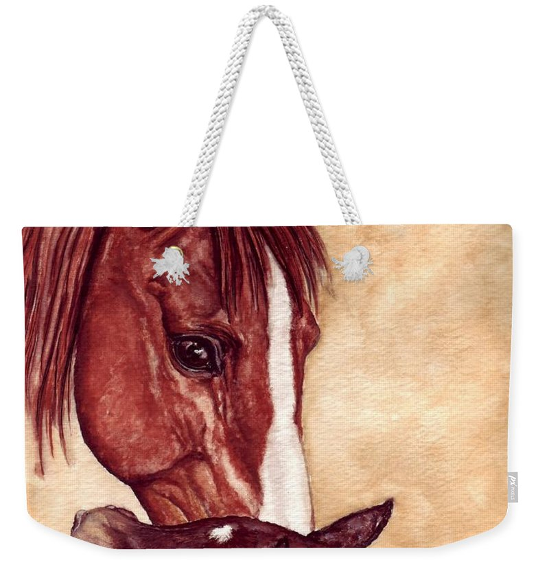 Horse Weekender Tote Bag featuring the painting Scootin by Kristen Wesch
