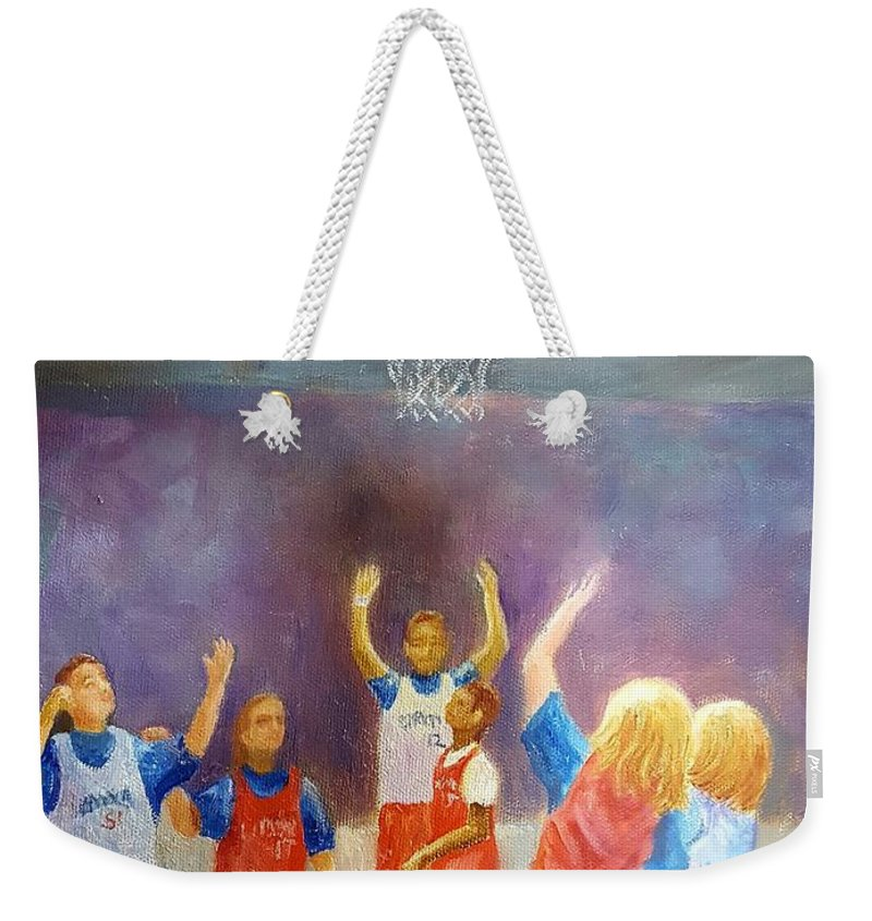 Score! Weekender Tote Bag featuring the painting Score by Dorothy Weichenthal
