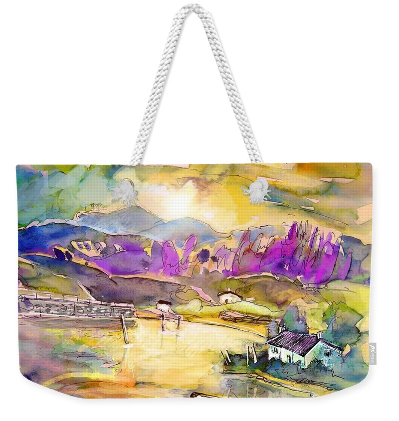 Scotland Weekender Tote Bag featuring the painting Scotland 19 by Miki De Goodaboom