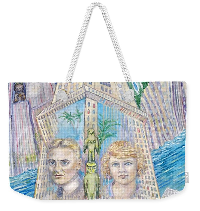 New York Fantasy Weekender Tote Bag featuring the painting Scott And Zelda In Their New York Dream Tower by Patricia Buckley