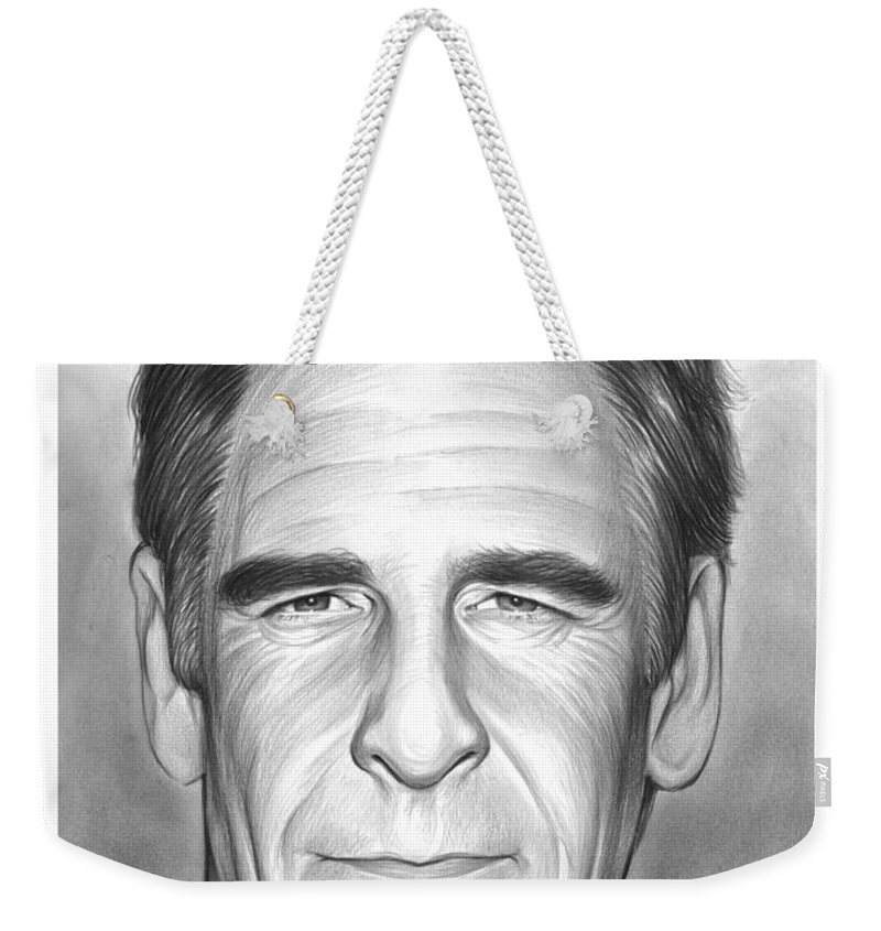 Scott Bakula Weekender Tote Bag featuring the drawing Scott Bakula by Greg Joens