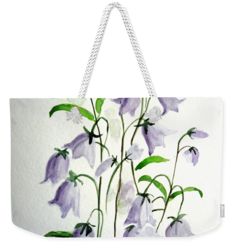 Blue Bells Hare Bells Purple Flower Flora Weekender Tote Bag featuring the painting Scottish Blue Bells by Karin Dawn Kelshall- Best