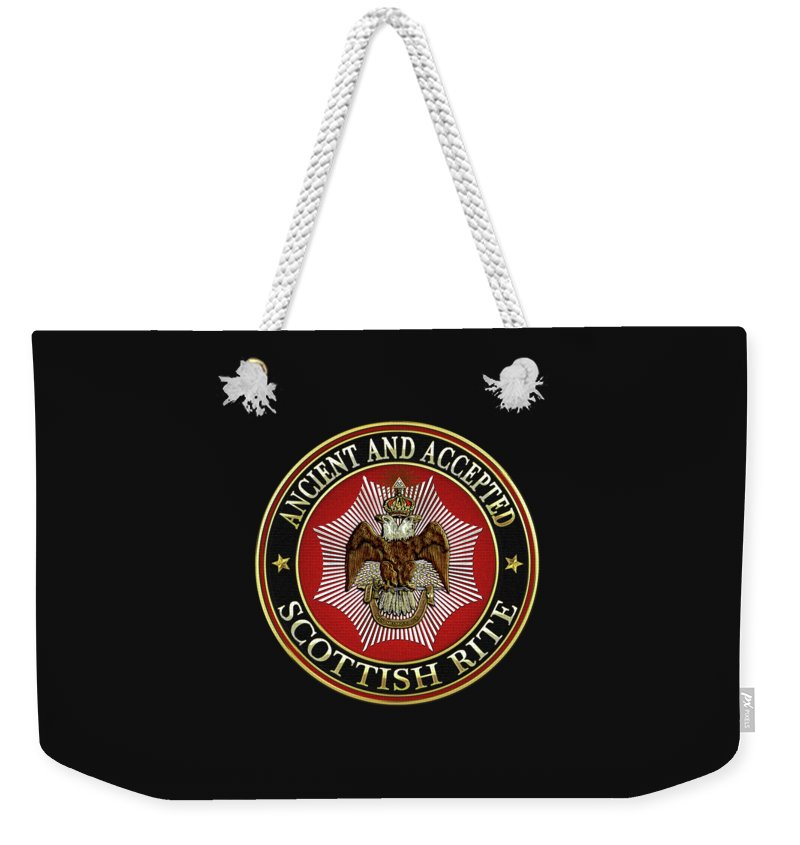 'scottish Rite' Collection By Serge Averbukh Weekender Tote Bag featuring the digital art Scottish Rite Double-headed Eagle On Black Leather by Serge Averbukh
