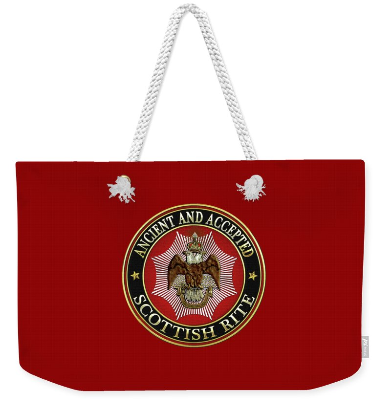 'scottish Rite' Collection By Serge Averbukh Weekender Tote Bag featuring the digital art Scottish Rite Double-headed Eagle On Red Leather by Serge Averbukh