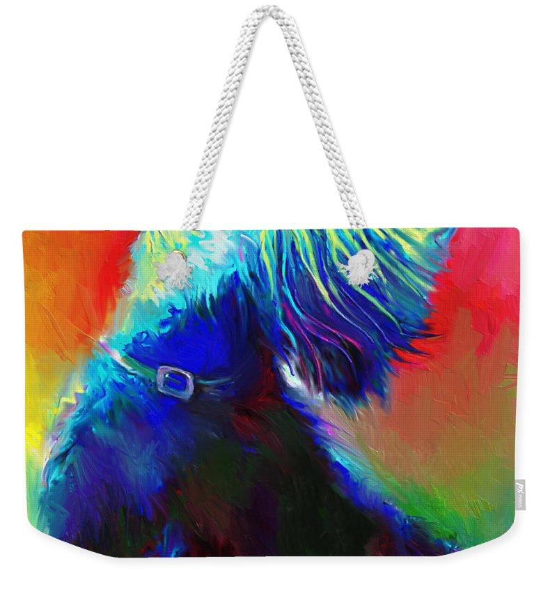 Scottish Terrier Painting Weekender Tote Bag featuring the painting Scottish Terrier Dog painting by Svetlana Novikova