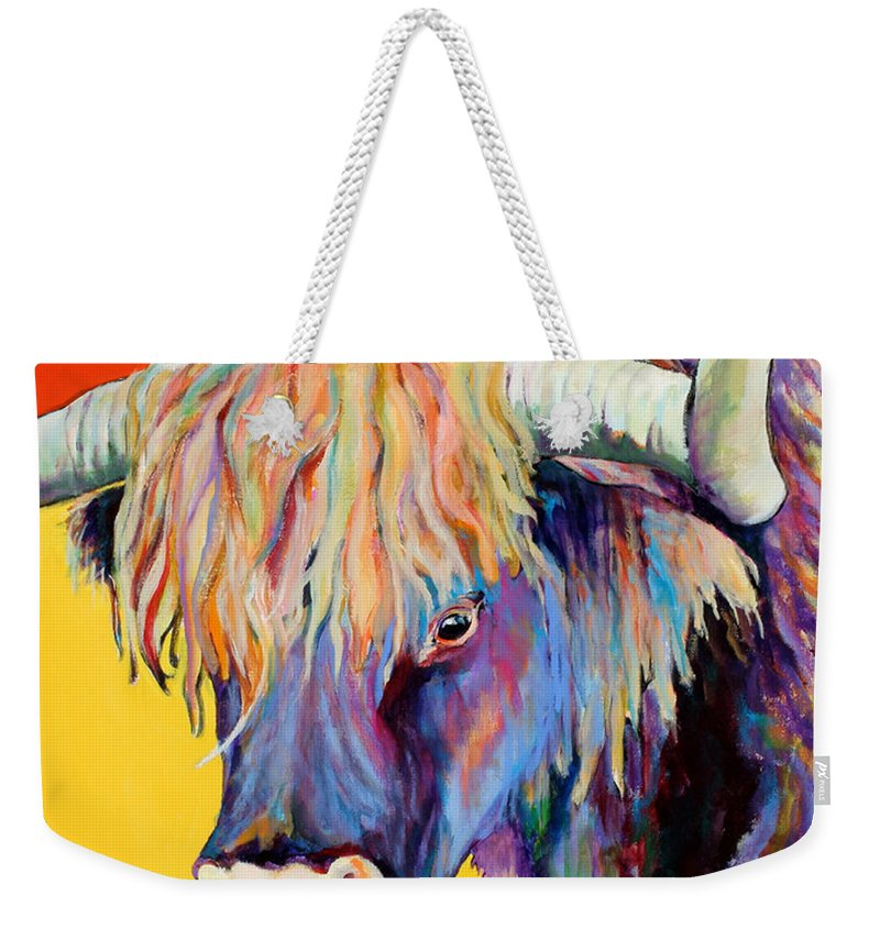 Farm Animal Weekender Tote Bag featuring the painting Scotty by Pat Saunders-White