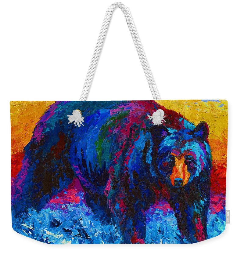 Western Weekender Tote Bag featuring the painting Scouting For Fish - Black Bear by Marion Rose