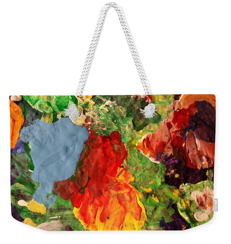 Abstract Weekender Tote Bag featuring the painting Scramble by Ferdinand Amboy