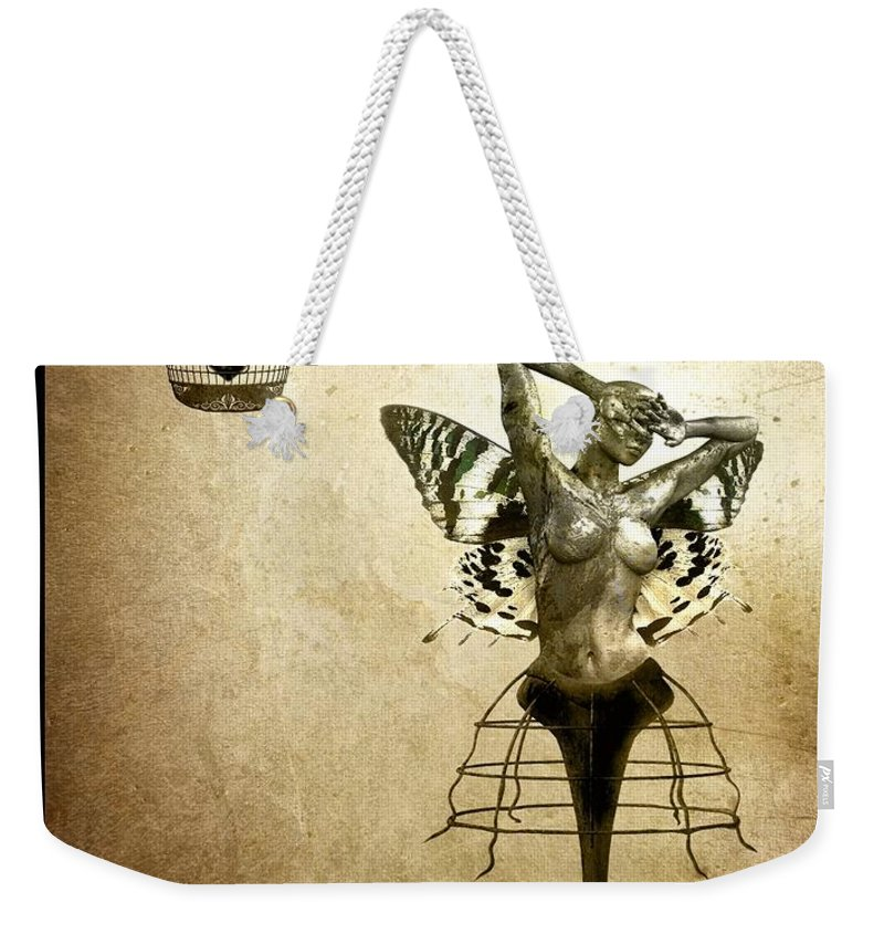 Digital Weekender Tote Bag featuring the painting Scream Of A Butterfly by Jacky Gerritsen