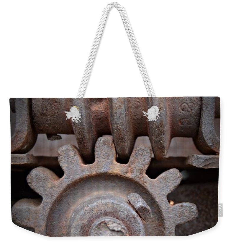 Screw And Gear Weekender Tote Bag featuring the photograph Screw And Gear by Chalet Roome-Rigdon