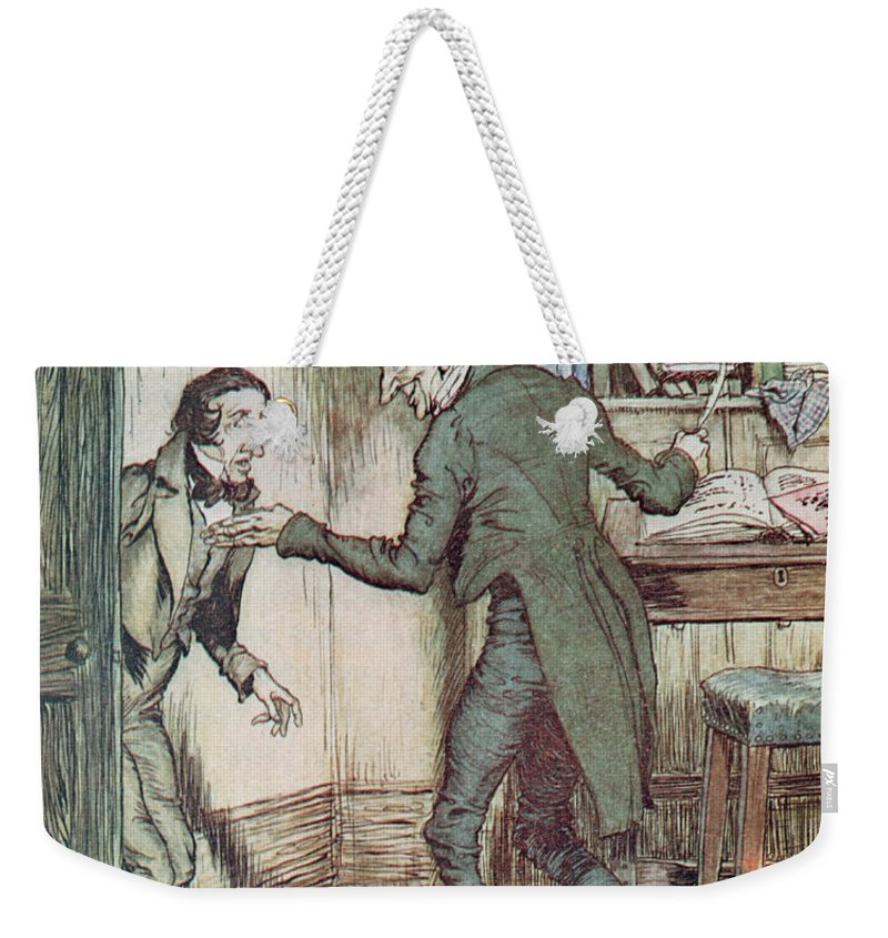 Arthur Rackham Weekender Tote Bag featuring the drawing Scrooge And Bob Cratchit by Arthur Rackham