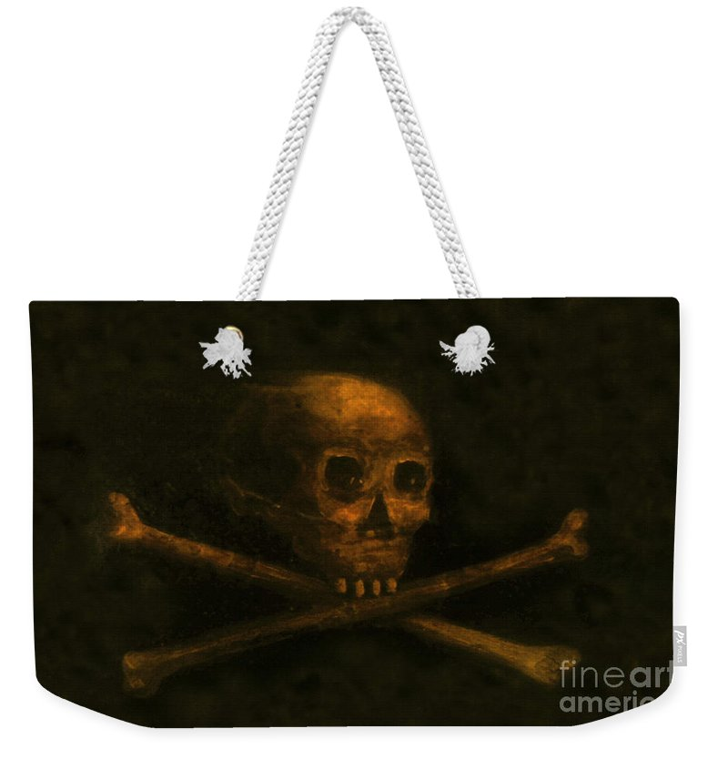 Scull And Crossbones Weekender Tote Bag featuring the painting Scull And Crossbones by David Lee Thompson