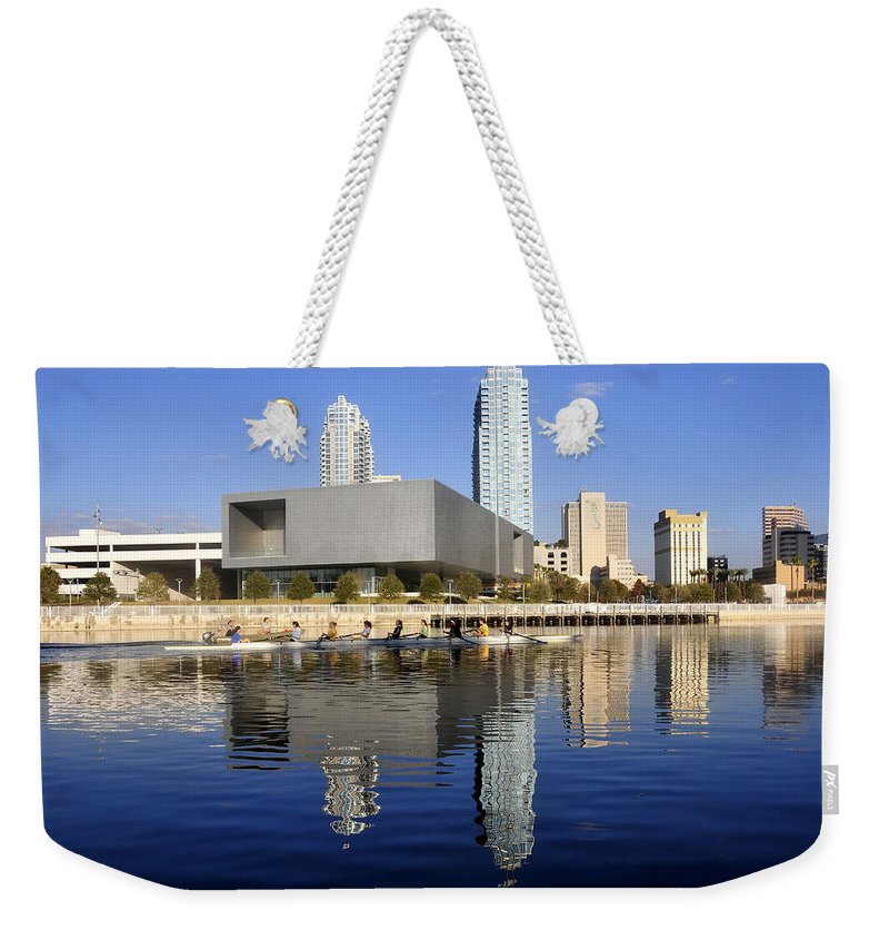 Tampa Bay Florida Weekender Tote Bag featuring the photograph Sculling By The Tampa Bay Art Center by David Lee Thompson