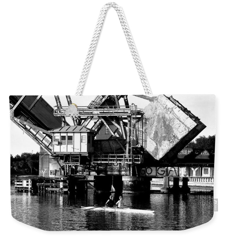 Sculling Weekender Tote Bag featuring the painting Sculling For Two by David Lee Thompson