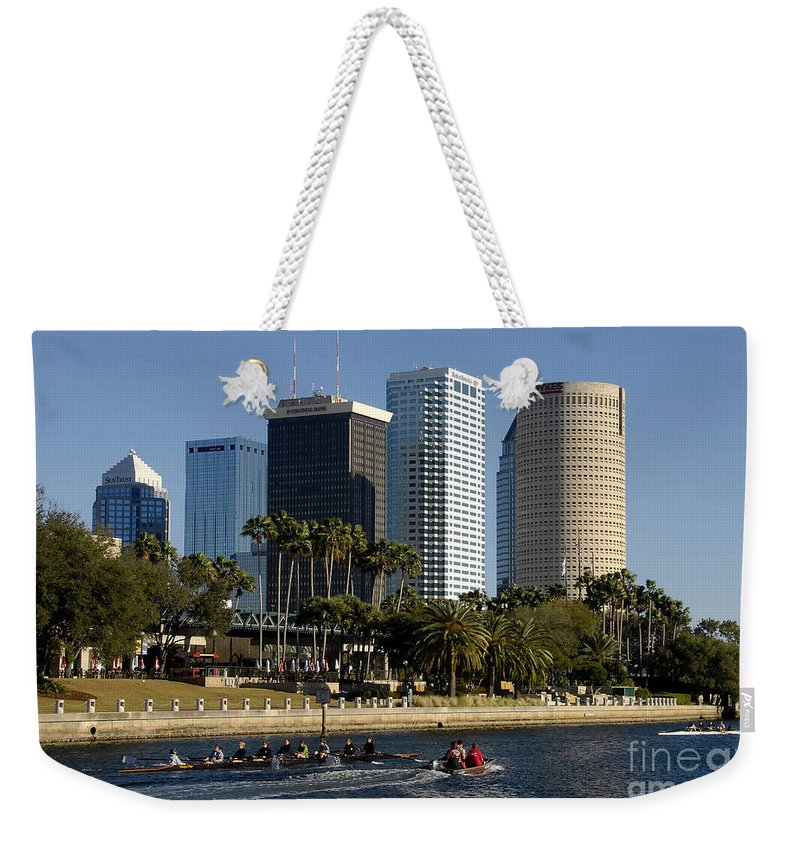 Sculling Weekender Tote Bag featuring the photograph Sculling In Tampa Bay Florida by David Lee Thompson