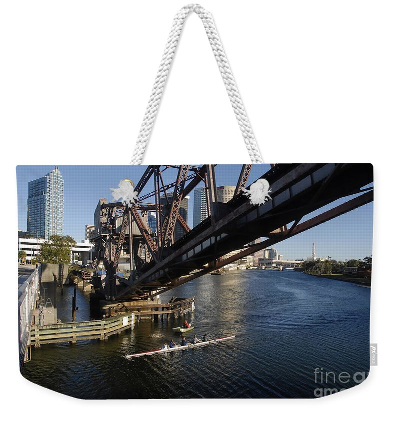 Sculling Weekender Tote Bag featuring the photograph Sculling The Hillsborough by David Lee Thompson