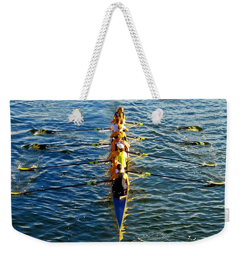 Females Weekender Tote Bag featuring the photograph Sculling Women by David Lee Thompson