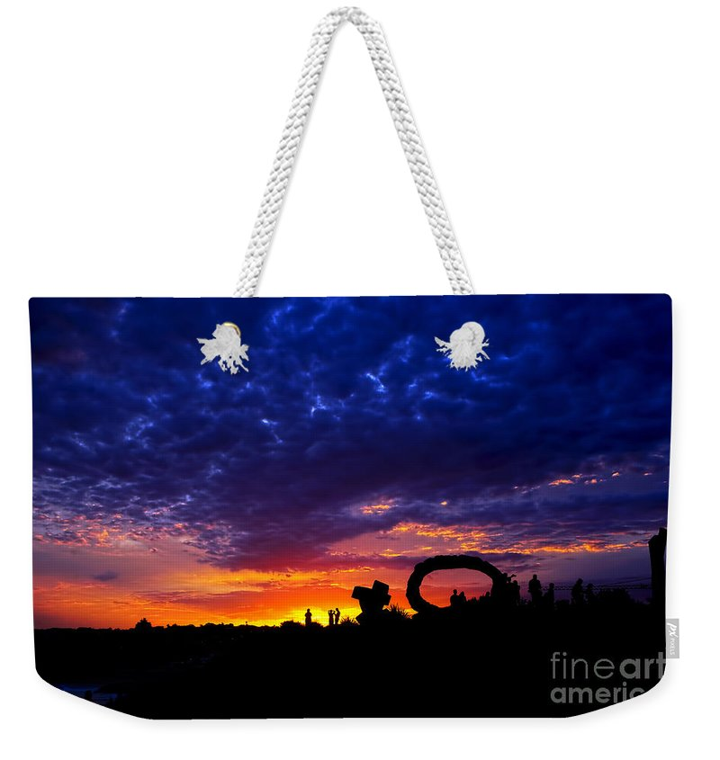 Photography Weekender Tote Bag featuring the photograph Sculpture By The Sea - Sunset Silhouette By Kaye Menner by Kaye Menner