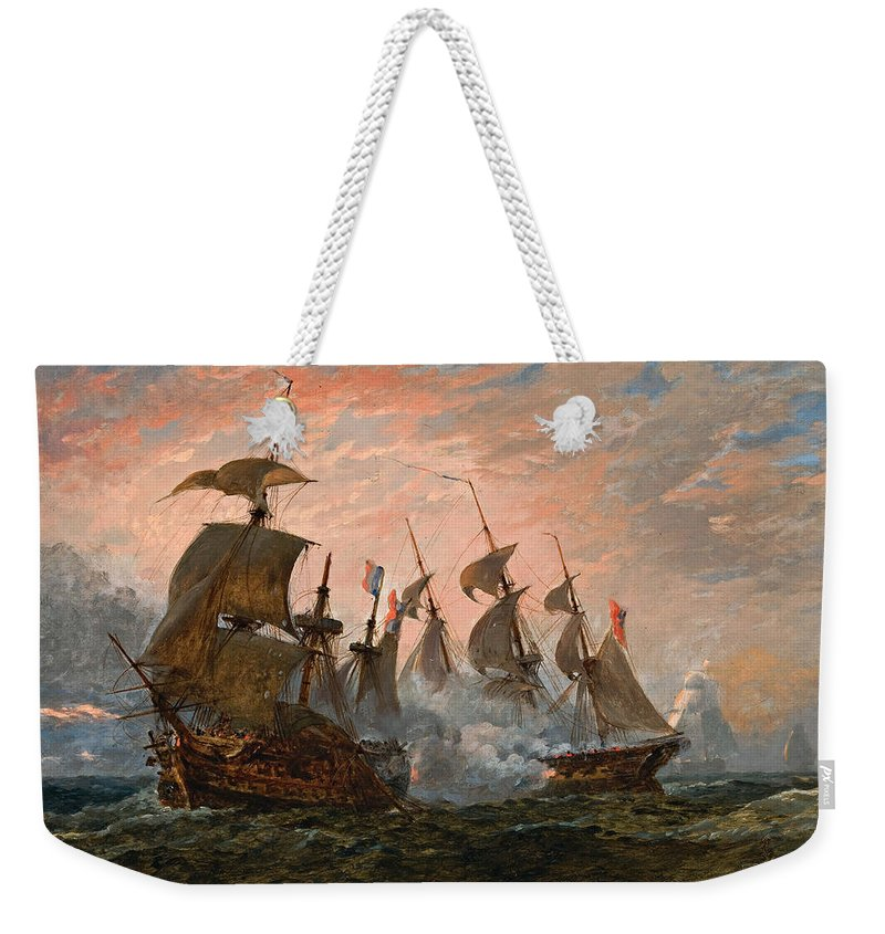 Oswald Walters Brierly Weekender Tote Bag featuring the painting Sea Battle by Oswald Walters Brierly