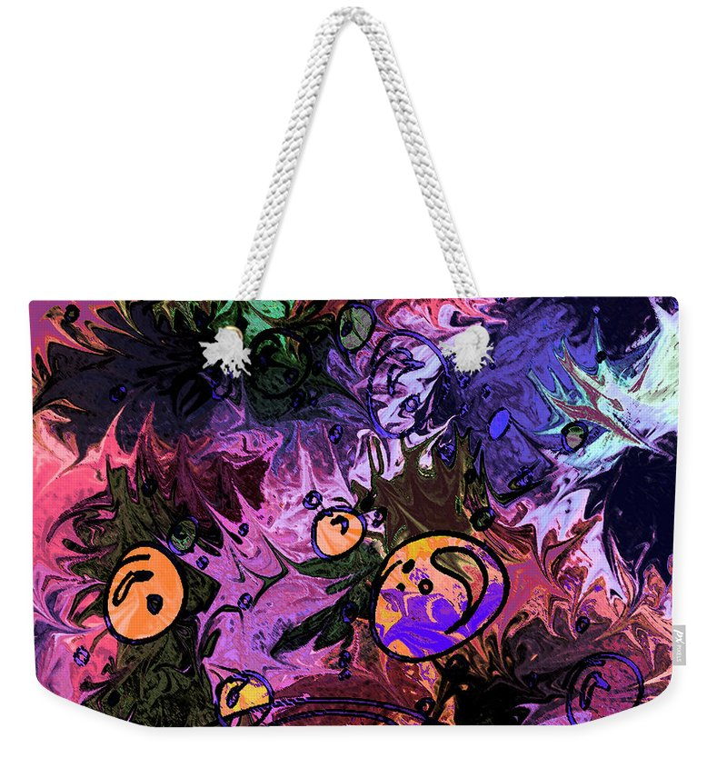 Abstract Weekender Tote Bag featuring the digital art Sea Creatures by Rachel Christine Nowicki