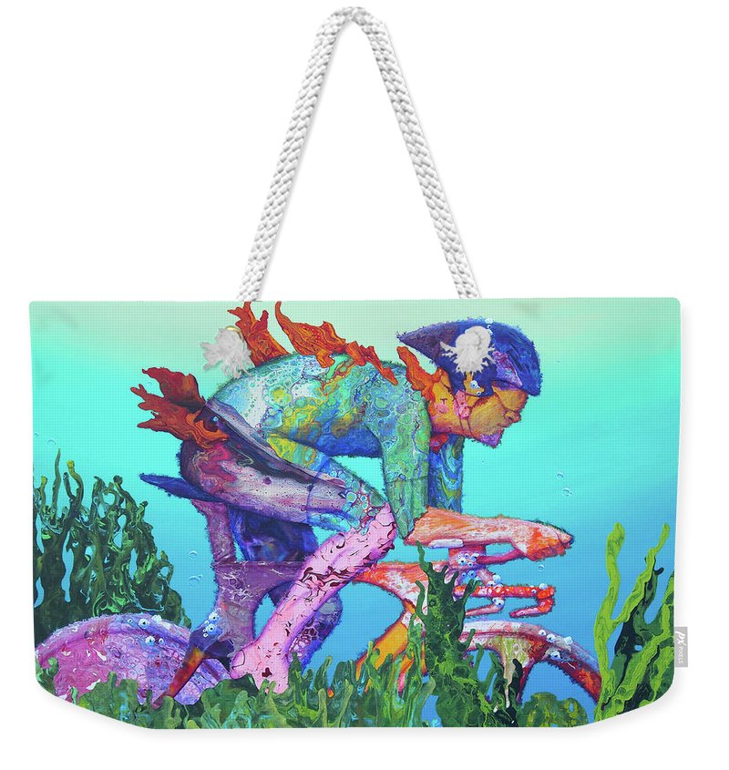 Underwater Weekender Tote Bag featuring the painting Sea Cycler by Marguerite Chadwick-Juner