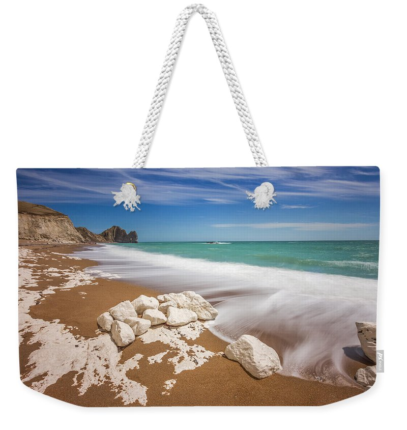 Landscape Weekender Tote Bag featuring the photograph Sea In Motion by Rich Wiltshire