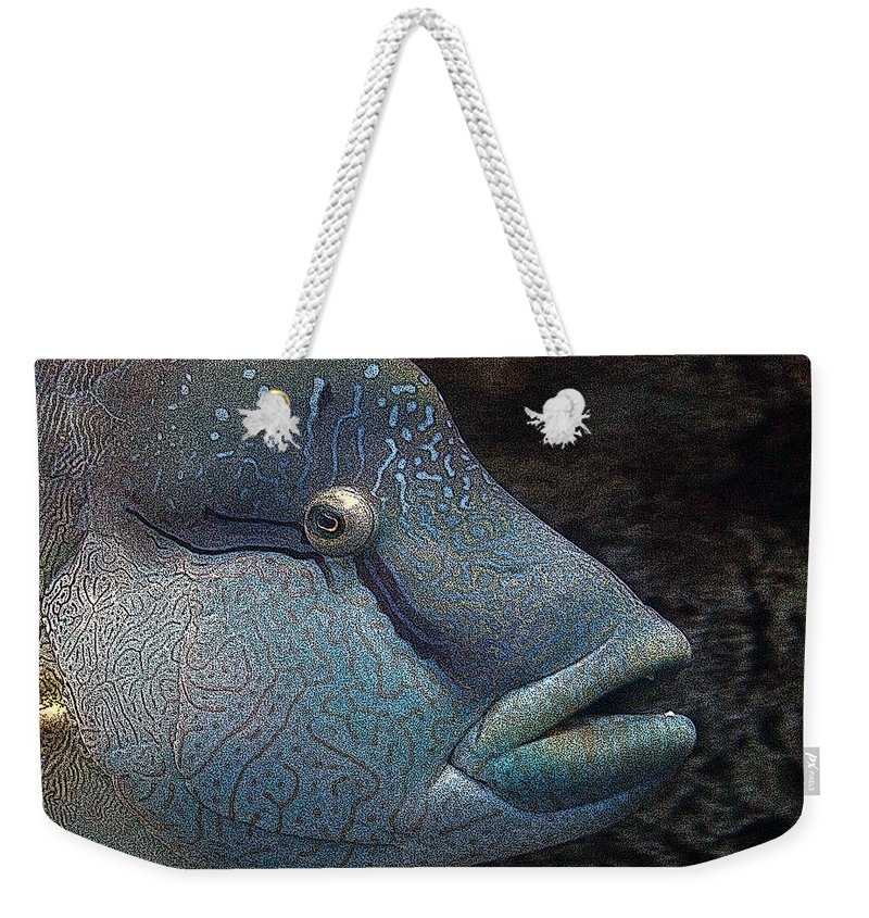 Fish Weekender Tote Bag featuring the mixed media Sea Life 19 by Ernie Echols