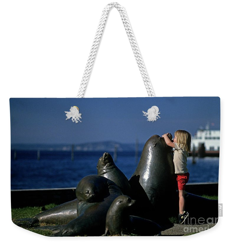 Ferry Weekender Tote Bag featuring the photograph Sea Lion Sculpture by Jim Corwin