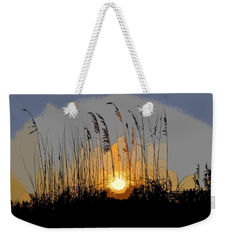 Sea Oats Weekender Tote Bag featuring the painting Sea Oats At Sunset by David Lee Thompson