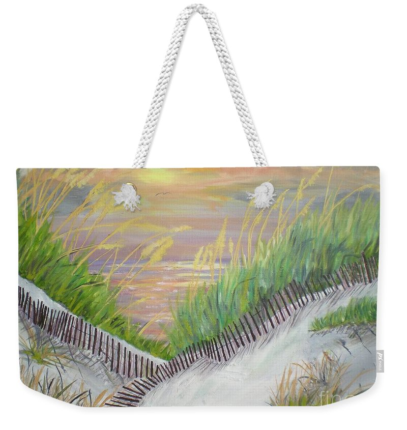 Seascape Weekender Tote Bag featuring the painting Sea Oats by Hal Newhouser