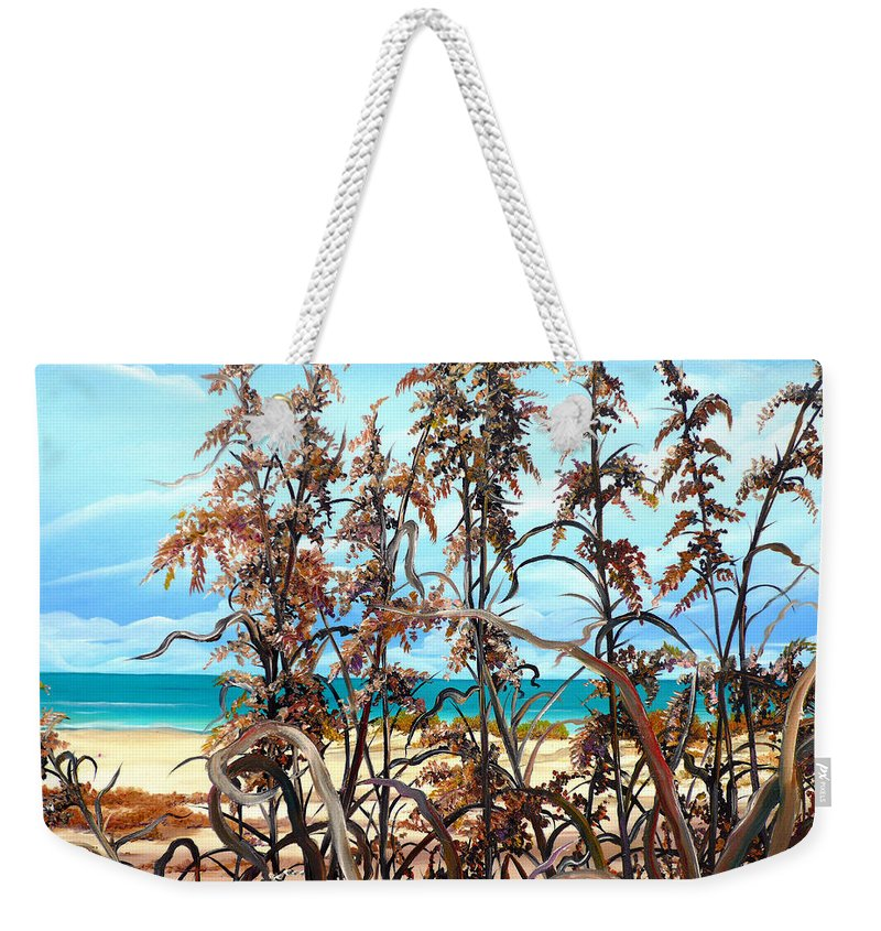 Ocean Painting Sea Oats Painting Beach Painting Seascape Painting Beach Painting Florida Painting Greeting Card Painting Weekender Tote Bag featuring the painting Sea Oats by Karin Dawn Kelshall- Best