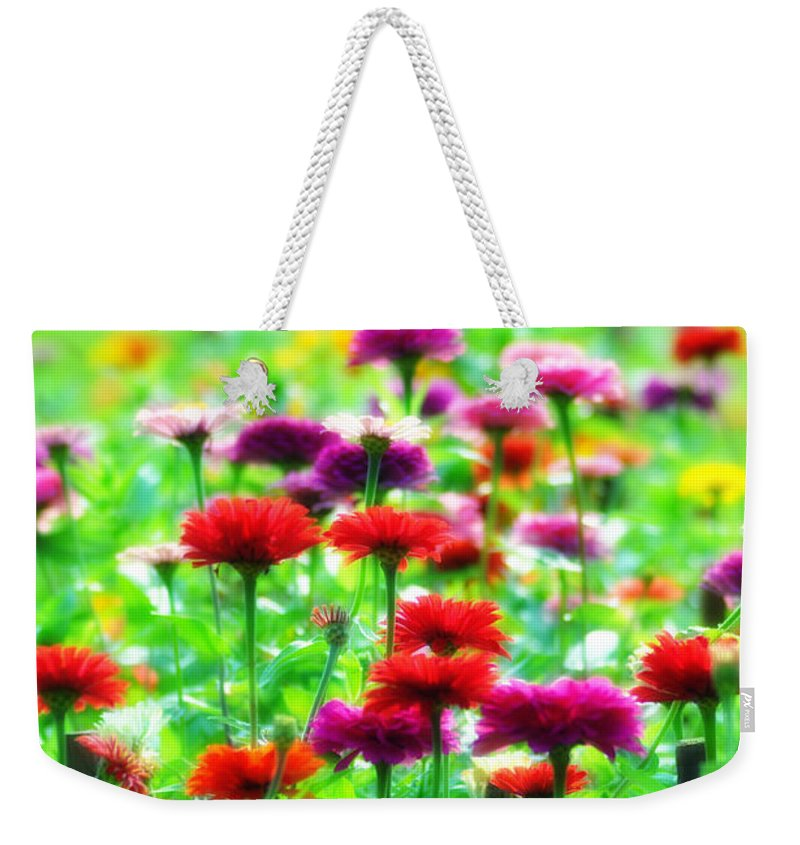 Flowers Weekender Tote Bag featuring the photograph Sea Of Flowers by Bill Cannon