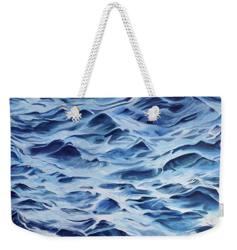 Water Weekender Tote Bag featuring the painting Sea Rhythms by Mackenzie Matthews