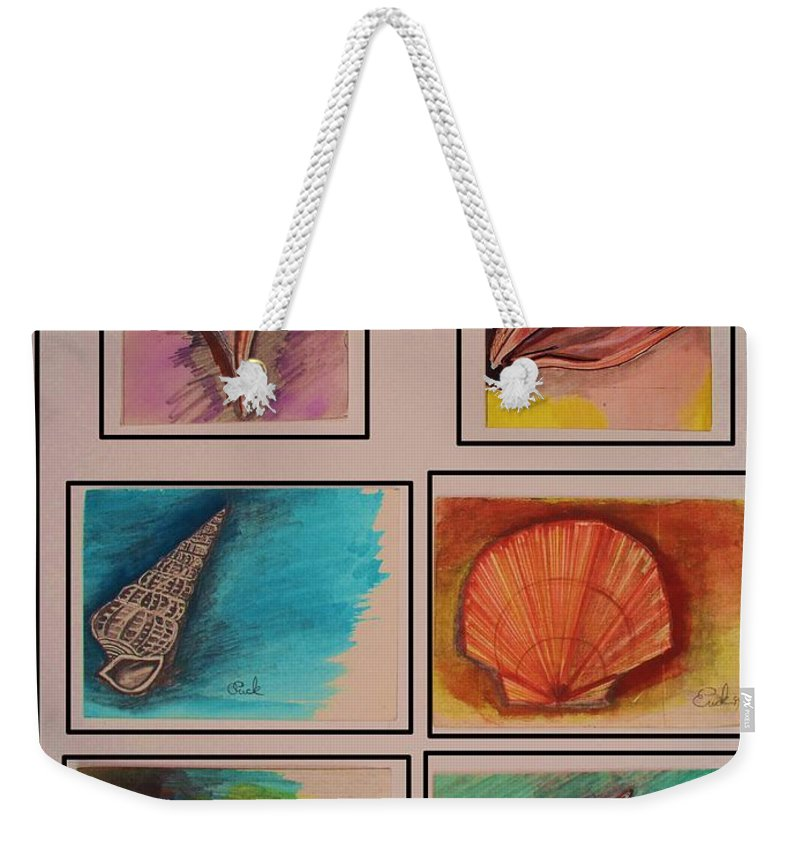 Sea Weekender Tote Bag featuring the painting Sea Shells by Eric Schiabor