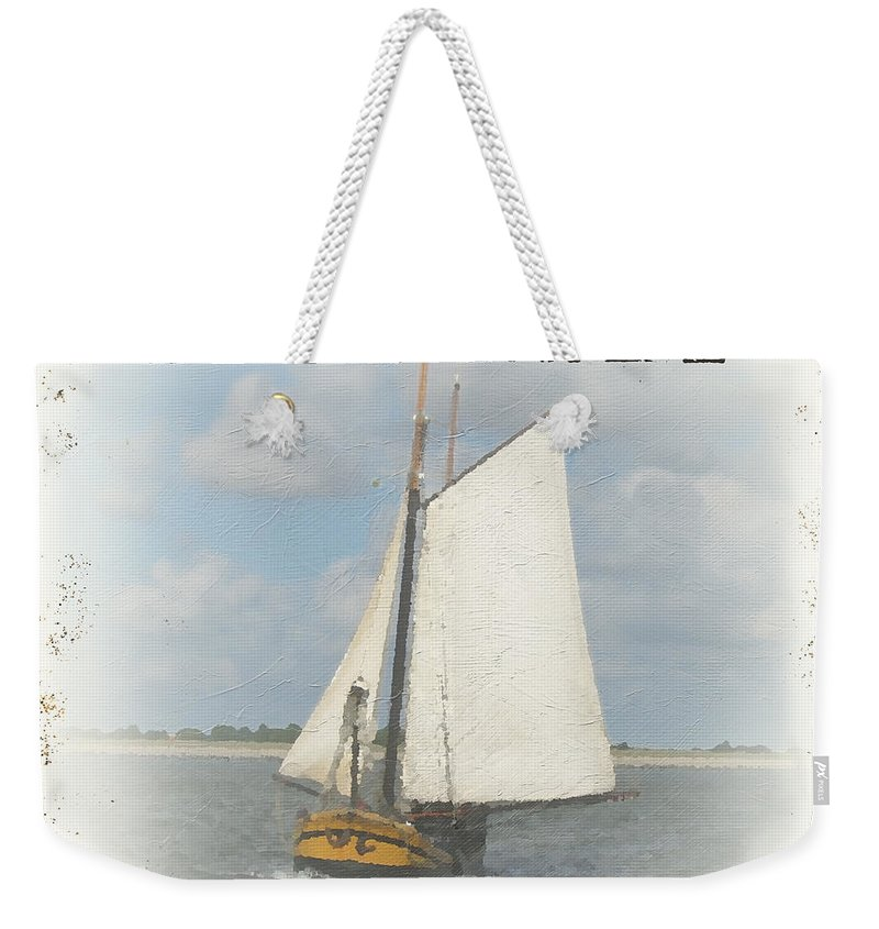 Nautical Weekender Tote Bag featuring the painting Sea Side-jp2729 by Jean Plout