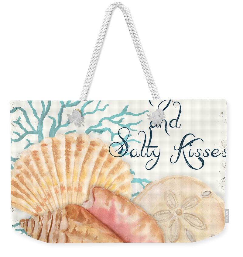 Nautical Weekender Tote Bag featuring the painting Sea Side-jp2731 by Jean Plout
