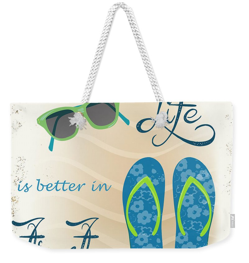Nautical Weekender Tote Bag featuring the painting Sea Side-jp2732 by Jean Plout
