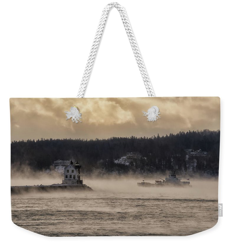 Maine Weekender Tote Bag featuring the photograph Sea Smoke At Rockland Breakwater Light by Jesse MacDonald