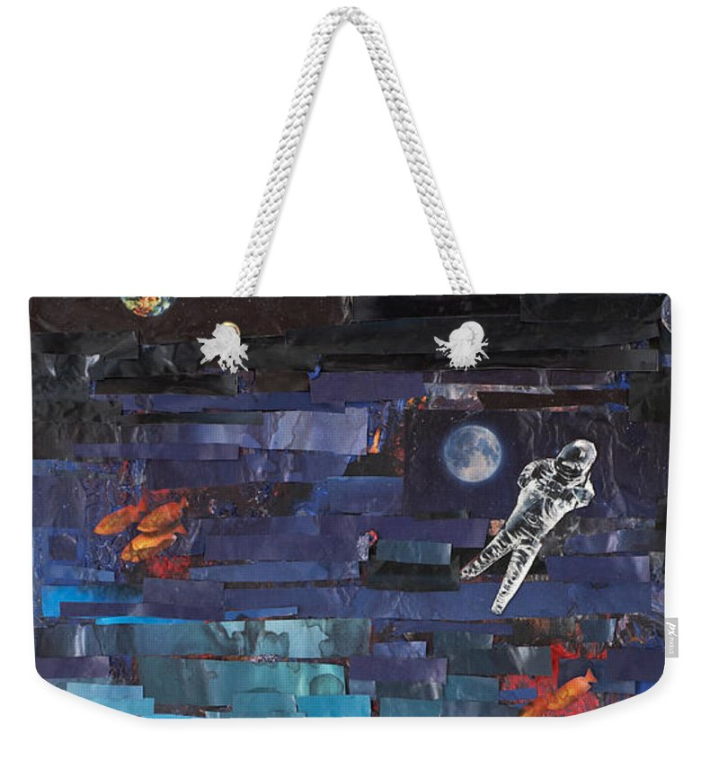 Astronaut Weekender Tote Bag featuring the mixed media Sea Space by Jaime Becker