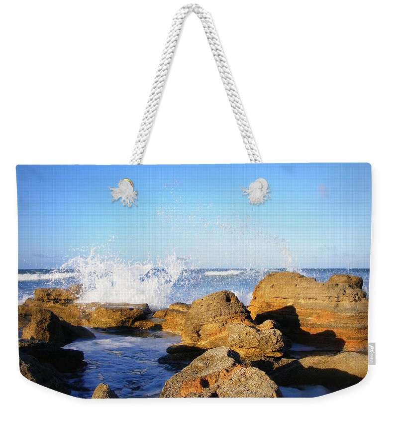 Rocks Weekender Tote Bag featuring the photograph Sea Splash by Mandy Shupp