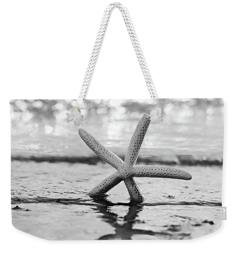 Beach Weekender Tote Bag featuring the photograph Sea Star Bw by Laura Fasulo