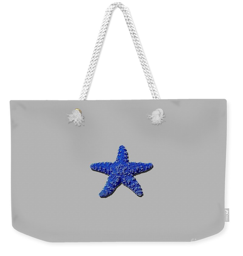 Sea Star Weekender Tote Bag featuring the photograph Sea Star Navy Blue .png by Al Powell Photography USA