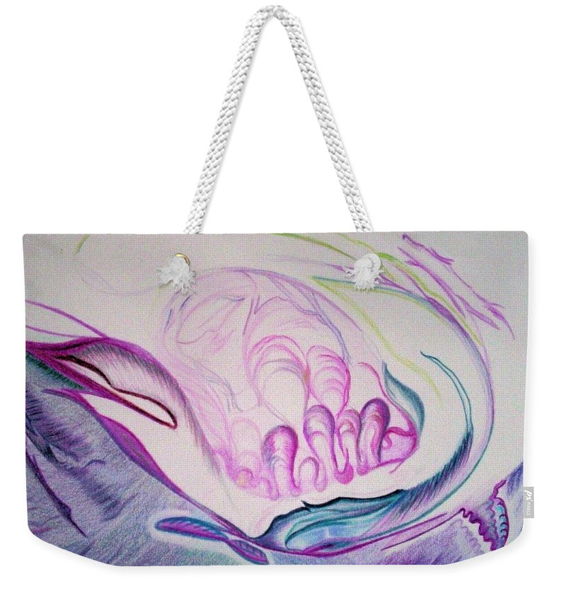 Abstract Painting Weekender Tote Bag featuring the painting Sea by Suzanne Udell Levinger