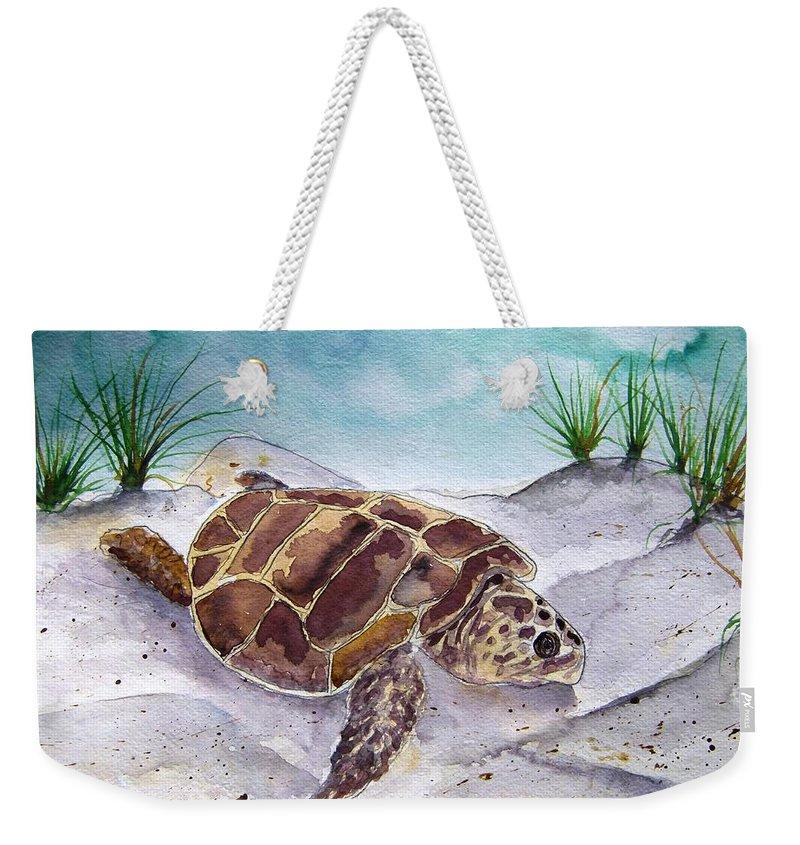 Sea Turtle Weekender Tote Bag featuring the painting Sea Turtle 2 by Derek Mccrea