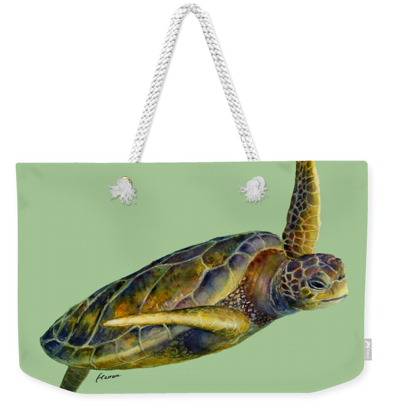 Underwater Weekender Tote Bag featuring the painting Sea Turtle 2 by Hailey E Herrera