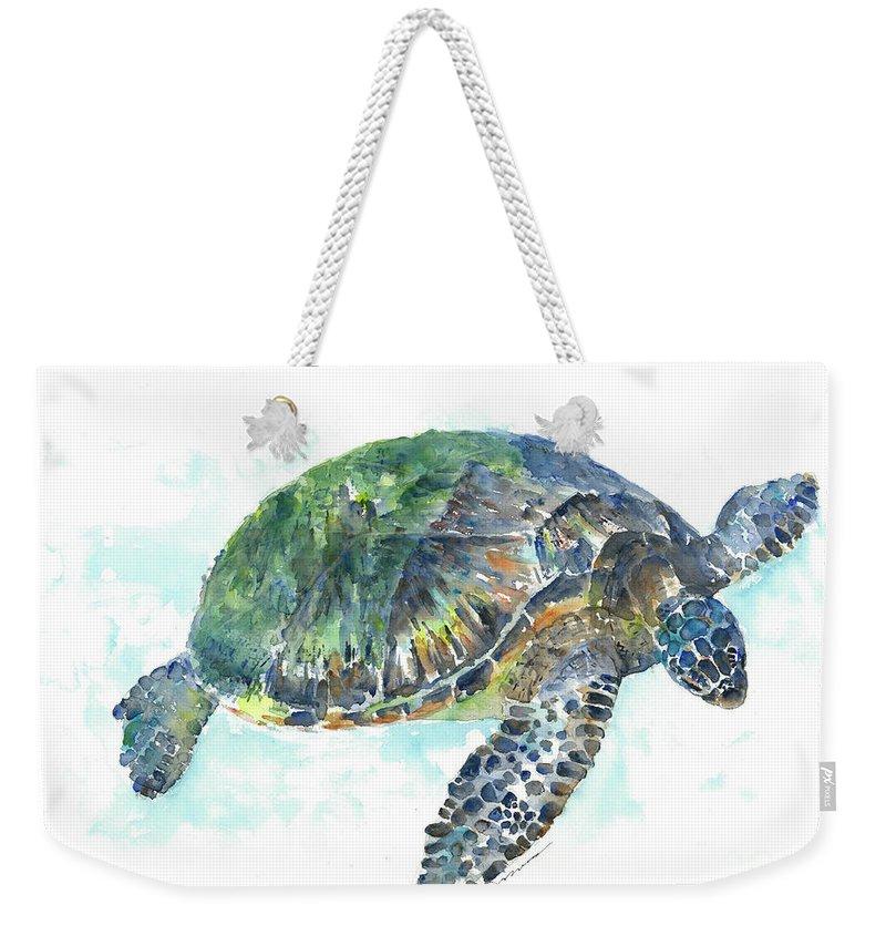 Sea Turtle Weekender Tote Bag featuring the painting Sea Turtle #20 by Claudia Hafner